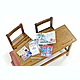 1/12 Elementary School Desk & Chair (Desk x1 Chair x2)