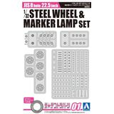 1/32 JIS8 Hole 22.5-inch Iron Wheel & Marker Lamp Set (for High-Floor)