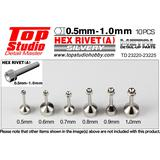 Top Studio 0.5mm Hex Rivets (A) 10pcs