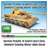 1/35 WWII German PZ.IV Ausf.H Late/J Early Zimmerit Coating Water Slide Decal (for Academy)