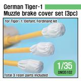 1/35 WWII German Tiger-1 Muzzle Brake Canvas Cover Set (3pc) (for Tiger, Elefant, Ferdinand)