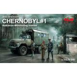 1/35 Chernobyl #1. Radiation Monitoring Station (ZiL-131KShM Truck & 5 Figures & Diorama Base with Background)